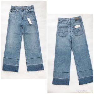 AG Adriano Goldschmied Etta wide leg blue jeans
